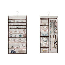SuperB2C Double Sided 38 Pockets Hanging Jewelry Organizer Bracelet Earring Ring necklace Holder Hang Hook Bag (Brown)