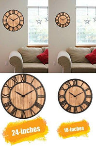 OLDTOWN Farmhouse Rustic Barn Vintage Bronze Metal & Solid Wood Noiseless Big Oversized Wall Clock (Large 18-inch) - zingydecor
