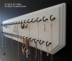 6x24-White 45-Black, Necklace Holder, Jewelry Organizer, Wall Mount Rack Display - zingydecor
