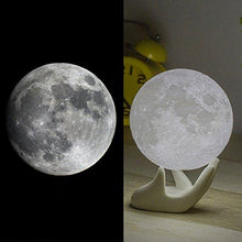 Load image into Gallery viewer, Mydethun Moon Lamp Moon Light Night Light USB Charging and Touch Control Brightness 3D Printed Warm and Cool White Lunar Lamp - zingydecor