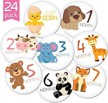 "Load image into Gallery viewer, 24 Pack of 4"" Premium Baby Monthly Stickers By KiddosArt. 1 Happy Animal Sticker Per Month of Your... - zingydecor"