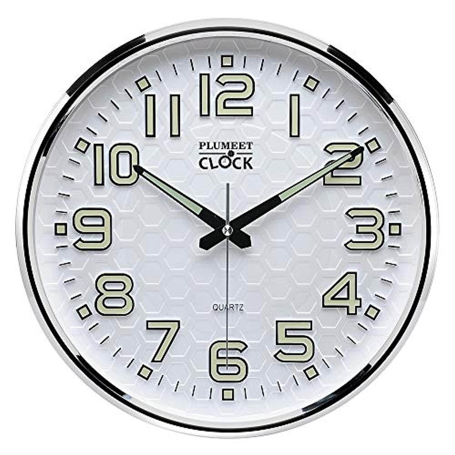 Plumeet Night Light Function 13-Inch Wall Clock Silent Non-Ticking Night Lights