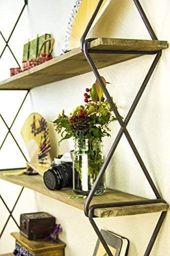 AVIGNON HOME Rustic Floating Wood Shelves 3-Tier Wall Mount Hanging Shelves Book Shelves Industrial Wood Book Shelves Storage, Display & Decor for Bedroom, Living Room, Kitchen, Office 39