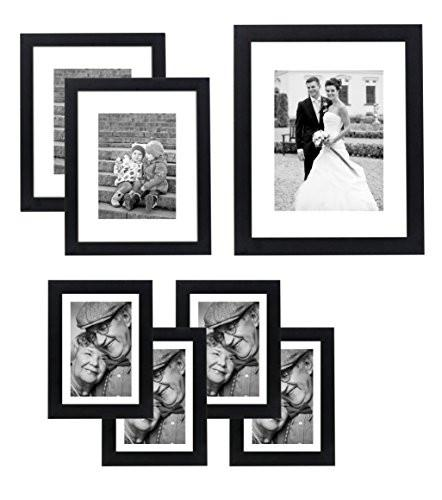 7 Piece Gallery Wall Set - Includes: 11x14 Inch with 8x10 inch matte opening, Two 8x10 inch with 5x7 matte openings, Four 5x7 inch with 4x6 inch matte opening - zingydecor