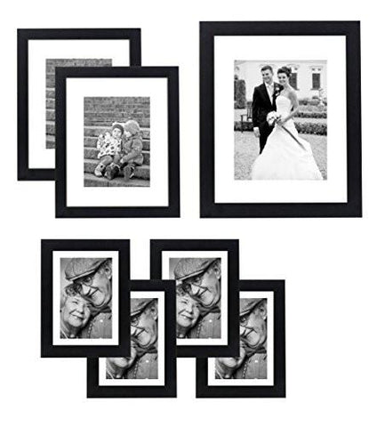 Image of 7 Piece Gallery Wall Set - Includes: 11x14 Inch with 8x10 inch matte opening, Two 8x10 inch with 5x7 matte openings, Four 5x7 inch with 4x6 inch matte opening - zingydecor