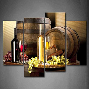 Various Wine With Grape Wall Art For Kitchen Painting Pictures Print On Canvas Food The Picture For Home Modern Decoration - zingydecor