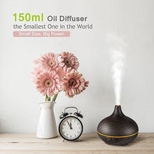 VicTsing 150ml Mini Palm-Sized Aroma Essential Oil Diffuser, Wood Grain Cool Mist Humidifier for Office Home Study Yoga Spa, 14 Color Lights (Black) - zingydecor