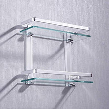 Load image into Gallery viewer, Aluminum Bathroom Glass Shelf 2 Tier Tempered Glass Rectangular Double Deck Extra Thick Silver Sand Sprayed Wall Mounted, A4126B