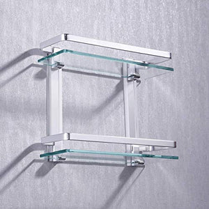 Aluminum Bathroom Glass Shelf 2 Tier Tempered Glass Rectangular Double Deck Extra Thick Silver Sand Sprayed Wall Mounted, A4126B