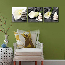 "Load image into Gallery viewer, Canvas Wall Art -Stretched and Framed Giclee Canvas Prints ""White Lily"" Flowers Art Prints for Wall Decor - zingydecor"
