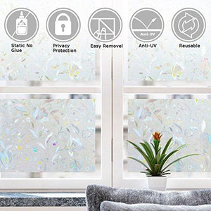 3D Window Film No Glue Static Decorative Privacy Films Window Frost Film for Glass (17.7In. by 78.7In) - zingydecor