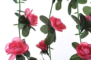 Miracliy 5 Pack 41 FT Fake Rose Vine Flowers Plants Artificial Flower Hanging Rose Ivy Home Hotel Office Wedding Party Garden Craft Art Décor Pink - zingydecor