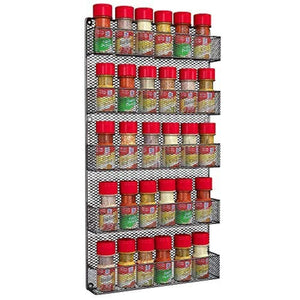 Spice Rack Organizer - Country Rustic Wire Style - Great Storage for Pantry, Cabinet and Kitchen - Wall Mounted 5 Tier Shelves - zingydecor