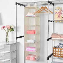 Load image into Gallery viewer, Closet Hanging Shelf, MaidMAX 6-Shelf Collapsible Hanging Accessory Organizer with 2 Widen Velcros for Clothes and Shoes Storage for Gift, Beige - zingydecor