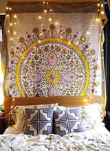 "Load image into Gallery viewer, Sketched Floral Medallion Tapestry Gold Indian Headboard Wall Hanging Home Decor,60""x 80"",Twin Size - zingydecor"