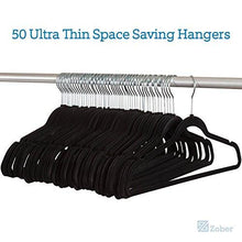 Load image into Gallery viewer, Zober Premium Quality Space Saving Velvet Hangers Strong and Durable Hold Up To 10 Lbs - 360 Degree Chrome Swivel Hook - Ultra Thin Non Slip Suit Hangers, Black - 50 pack - zingydecor