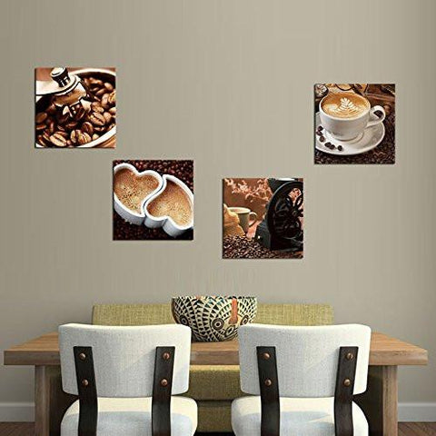 ... Coffee Bean Coffee Pictures Painting Canvas Prints Wall Art Decor Framed  Ready To Hang   4 ...