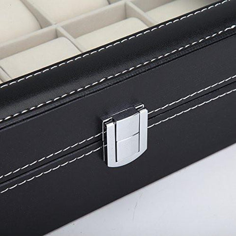 Image of Readaeer Black Leather 10 Watch Box Case Organizer Display Storage Tray for Men & Women - zingydecor