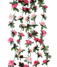 Load image into Gallery viewer, Miracliy 5 Pack 41 FT Fake Rose Vine Flowers Plants Artificial Flower Hanging Rose Ivy Home Hotel Office Wedding Party Garden Craft Art Décor Pink - zingydecor