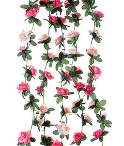 Miracliy 5 Pack 41 FT Fake Rose Vine Flowers Plants Artificial Flower Hanging Rose Ivy Home Hotel Office Wedding Party Garden Craft Art Décor Pink