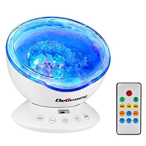 Delicacy Ocean Wave Projector 12 LED Remote Control Undersea Projector Lamp,7 Color Changing Music Player Night Light Projector for Kids Adults Bedroom Living Room Decoration - zingydecor