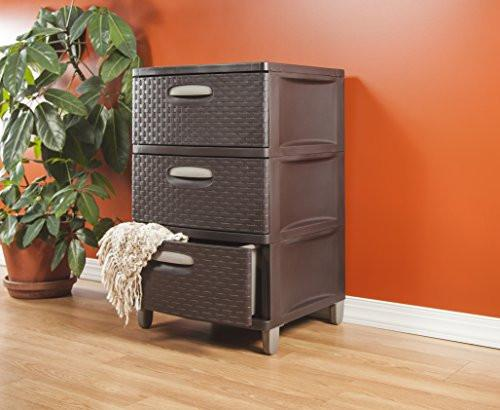 Sterilite 01986P01 3 Weave Drawer Unit, Espresso with Driftwood Handles and Legs, 1-Pack