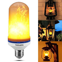 Load image into Gallery viewer, Texsens LED Flame Effect Light Bulb, E26 LED Flickering Flame Light Bulbs, 105pcs 2835 LED Beads Simulated Decorative Light Atmosphere Lighting Vintage Flaming Light Bulb for Bar/ Festival Decoration - zingydecor