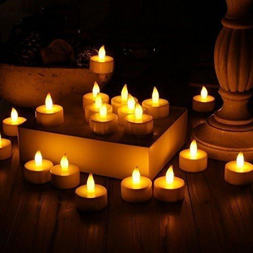 Flameless LED Tea Light Candles, Realistic, Battery Powered, Unscented LED Candles, Fake Candles, Tealights (24 Pack) - Vont