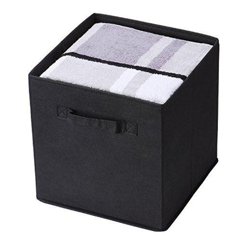 Image of Collapsible Storage Bins, MaidMAX Set of 6 Foldable Nonwoven Cloth Organizers Basket Cubes with Dual Handles for Gift, Black - zingydecor