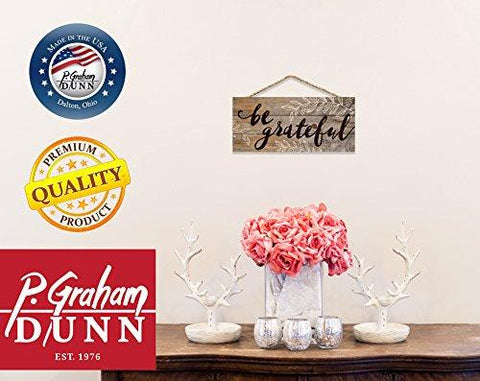 Image of Be Grateful Distressed 5 x 10 Wood Plank Design Hanging Sign
