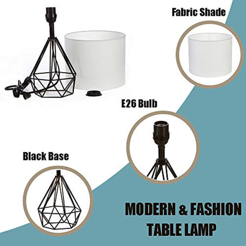 "Image of SOTTAE Black Hollowed Out Base Modern Lamp Bedroom Livingroom Beside Geometric Table Lamp, 16"" Desk Lamp With White Fabric Shade(Set of 2)"