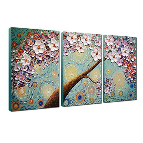Hand-painted Oil Painting, V-inspire Blooming life Abstract 3D Hand-Painted Modern Home Decoration Abstract Artwork Art 3 Panels Wood Inside Framed Hanging 16x24Inchx3