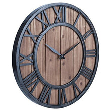 Load image into Gallery viewer, OLDTOWN Farmhouse Rustic Barn Vintage Bronze Metal & Solid Wood Noiseless Big Oversized Wall Clock (Large 18-inch) - zingydecor