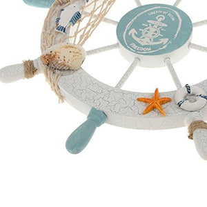 Nautical Beach Wooden Boat Ship Steering Wheel Fishing Net Shell Home Wall Decor White - Fish - zingydecor
