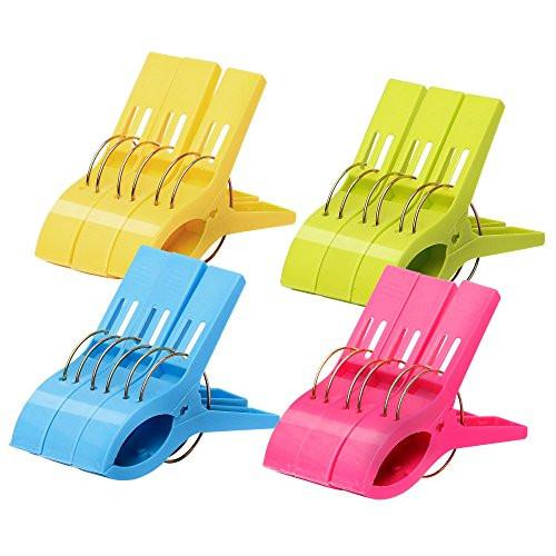 12 Pack Ipow Towel Clips Plastic-Jumbo Size,4 Fun bright colors - for Beach Chairs or Pool Lounges,Heavy Duty Clips to Keep Your Towels,Clothes,Quilt,Blanket from Blowing Away or Sliding Down from Rail - zingydecor