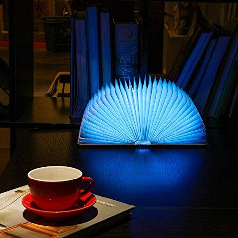 Wooden Folding Book Light, Magicfly USB Rechargable Book Shaped Light 4 Colors Led Desk Table Lamp for Decor, Magnetic Design- Creative gift for Christmas