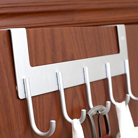 Image of Over The Door Hook Hanger by ACMETOP, Heavy-duty Organizer for Coat, Towel, Bag, Robe - 5 Hooks, Aluminum, Brush Finish