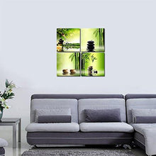 Pyradecor Modern 4 Panel Stretched and Framed Contemporary Zen Giclee Canvas Prints Perfect Bamboo Green Pictures on Canvas Wall Art for Home Office Decorations Living Room Bedroom - zingydecor