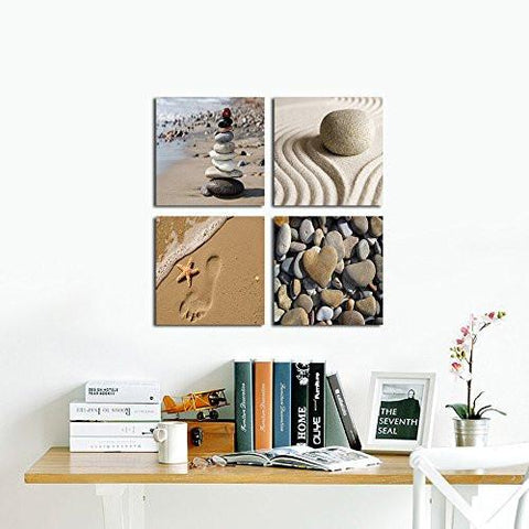 Wieco Art - Romantic Beach Theme 4 Piece Modern Giclee Artwork Sea Beach Ocean Canvas Prints Contemporary Abstract Seascape Pictures Paintings on Canvas Wall Art for Bedroom Home Decorations