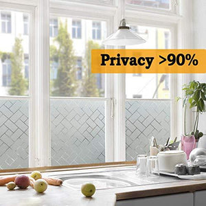 Privacy Window Film Non-Adhesive Glass Film Frosted Window Film Privacy Glass Film for Home &Office Anti UV/Heat Insulation/Privacy (17.7 by 78.7 inches) - zingydecor