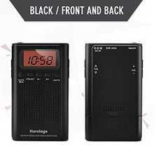 Load image into Gallery viewer, Horologe AM FM Pocket Radio, Portable Alarm Clock Radio with Time, Alarm, Radio, Digital Display,Stereo Mode and Including Battery - zingydecor