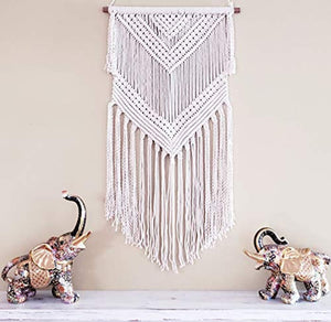 "Boho Macrame Woven Wall Hanging – 16"" x 36"" Modern Bohemian Wall Art Tapestry Decor for House, Apartment, Dorm Room, Nursery, Party Decorations, Wedding Backdrop - zingydecor"