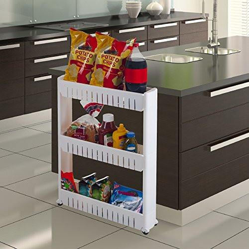 Mobile Shelving Unit Organizer with 3 Large Storage Baskets, Slim Slide Out Pantry Storage Rack for Narrow Spaces by Everyday Home