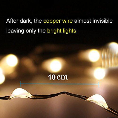 Image of AMIR Solar Powered String Lights, 100 LED Copper Wire Lights, Starry String Lights, Indoor/Outdoor Waterproof Solar Decoration Lights for Gardens, Home, Dancing, Party Decorative Ornaments(Warm White) - zingydecor