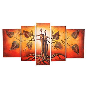 Hand Painted Modern Abtract Framed Canvas Wall Art Oil Paintings Human Body Couple Love Trees Ready to Hang for Living Room Wall Decor - zingydecor