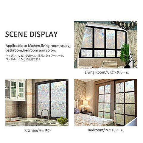 Window Film 3D Static Decorative Privacy Self-adhesive For UV Blocking Glass Sticker, 35.4x78.7 Inches