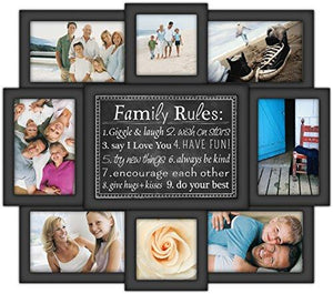 Malden International Designs Family Rules Dimensional Collage Black Picture Frame, 8 Option, 6-4x6 & 2-4x4, Black - zingydecor