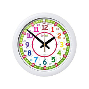 EasyRead Time Teacher Children's Wall Clock, 12 & 24 Hour with silent movement. Learn to tell the time in 2 simple steps, for children age 5-12. - zingydecor