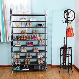 "SONGMICS 10 Tiers Shoe Rack 50 Pairs Non-woven Fabric Shoe Tower Organizer Cabinet 39 3/8"" x 11 3/8"" x 68 7/8"" - zingydecor"