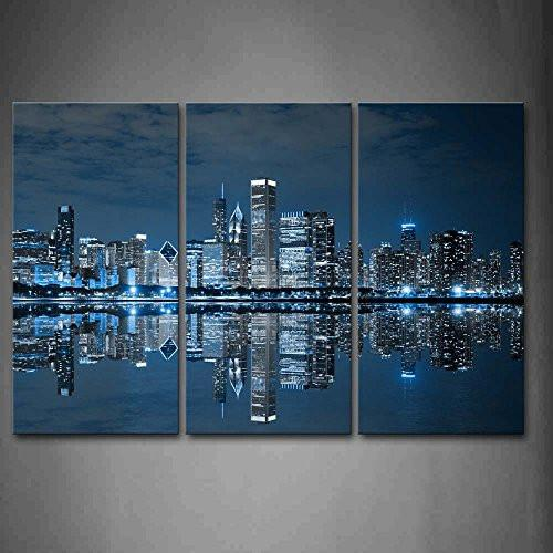 Blue Cool Buildings In Dark Color In Chicago Wall Art Painting The Picture Print On Canvas City Pictures For Home Decor Decoration Gift - zingydecor